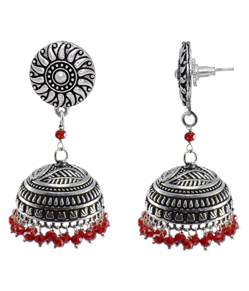 Ethnic-Traditional Style Silver Mixed Oxidized Red Crystal And Round Jhumki Earring-Indian fashion Jewellery-Silvesto India PG-112239