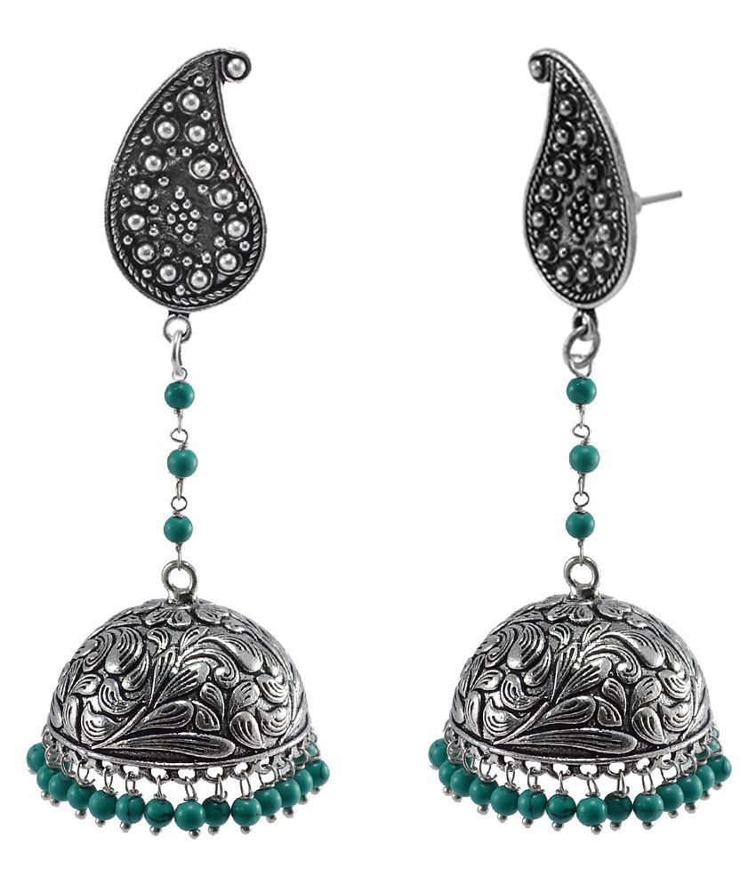 Indian Earrings Jhumka with Hanging turquoise Beads With Pear Studs-Ethnich Collection By Silvesto India PG-112012