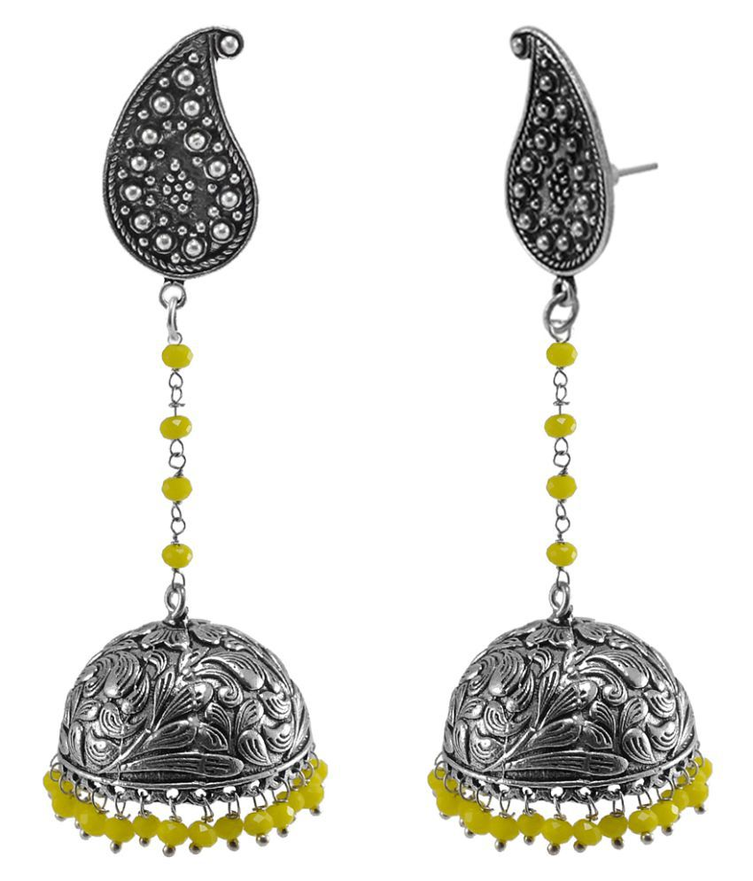 plated silver detail jaipur earrings rajasthani oxidised gold brass mart product jhumki metal