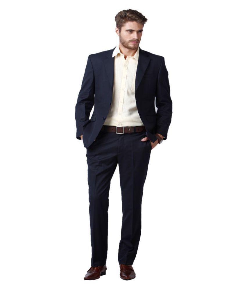 Lee Marc Navy Solid Formal Suit