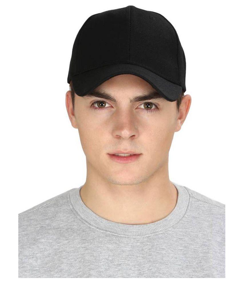 feb6c68331930f HOZIE Black Plain Cotton Caps - Buy Online @ Rs.   Snapdeal