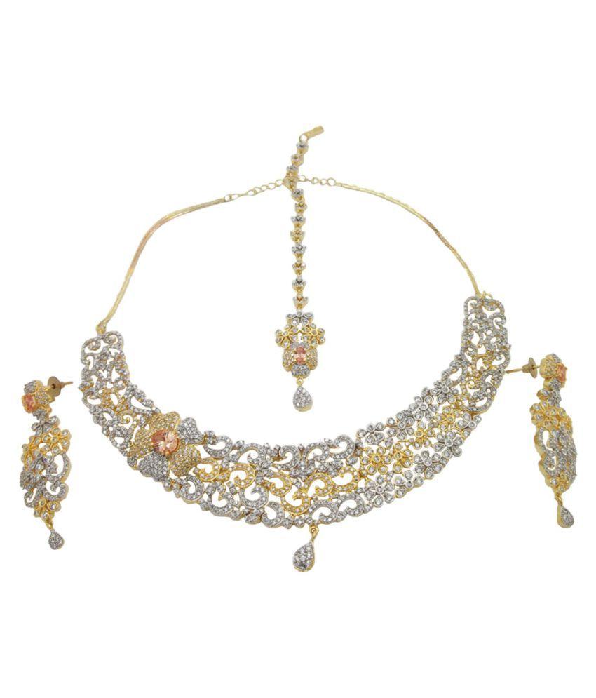 9blings American Diamond Designer Statement Necklace Set Maang tikka