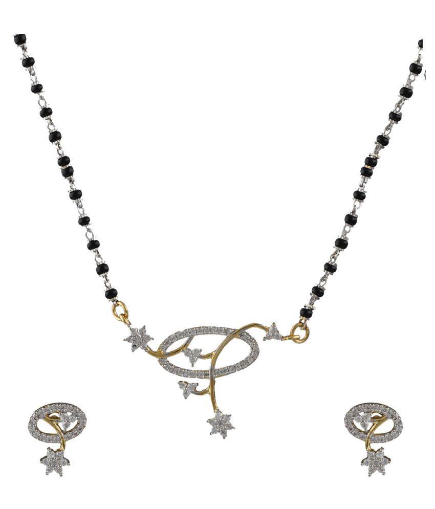 Anuradha Art Golden Tone Very Classy Designer Styled With American Diamonds Mangalsutra Set For Women