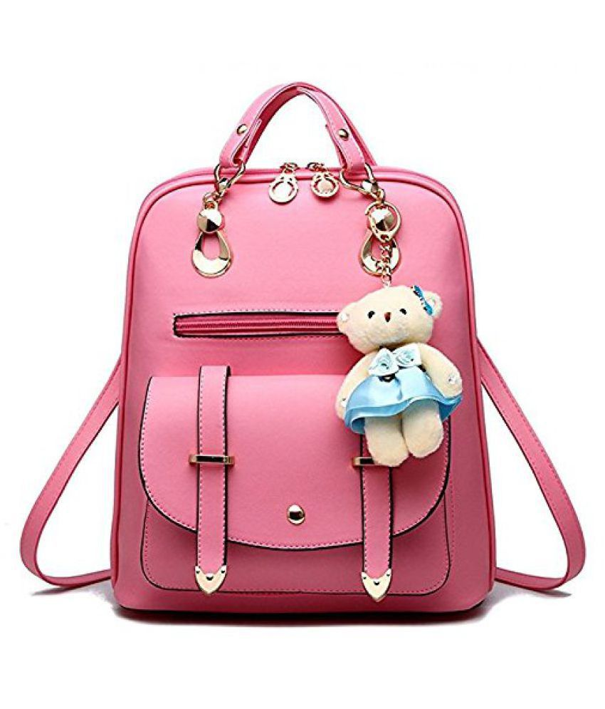 c47f24a188099 Aeoss Faux Leather Pink Casual School Bag Backpack for Girls & Women - Buy  Aeoss Faux Leather Pink Casual School Bag Backpack for Girls & Women Online  at ...