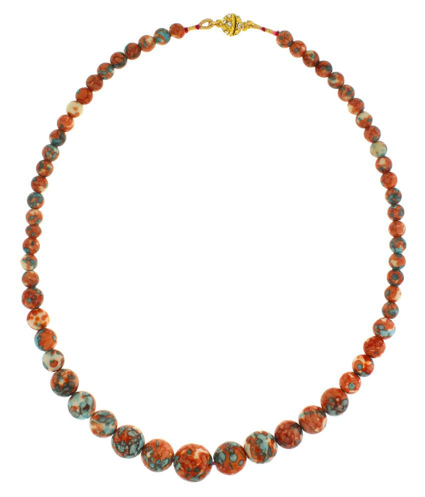 Anuradha Art Orange Colour Shaded Crystal Beads Necklace For Women/Girls