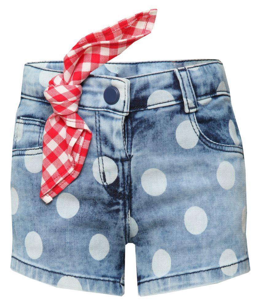 Tales & Stories Girls Denim Light Blue Shorts