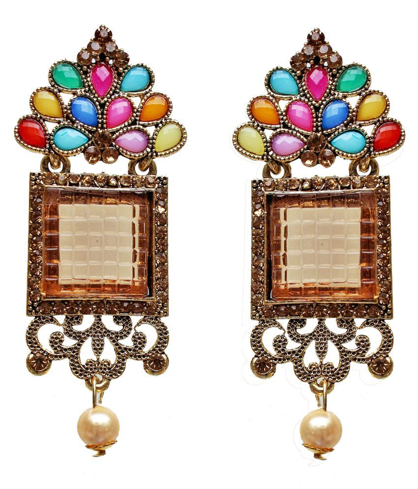 Lucky JewelleryDesigner Gold Plated Partywear Tops Earring