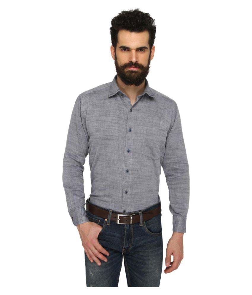 zido Grey Casual Regular Fit Shirt