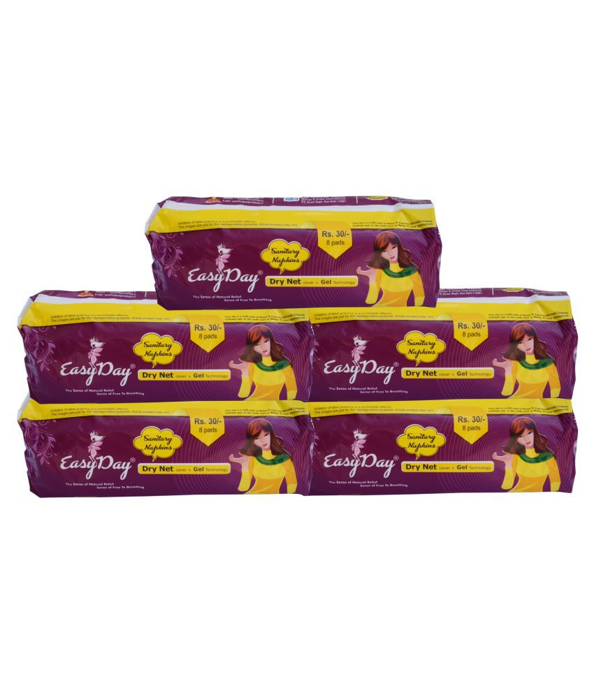 EASY DAY Easy Day Large 8 Sanitary Pads Pack of 5