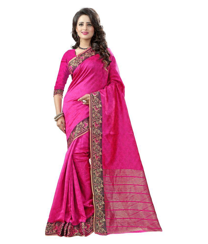 Star Enterprise Pink Cotton Silk Saree