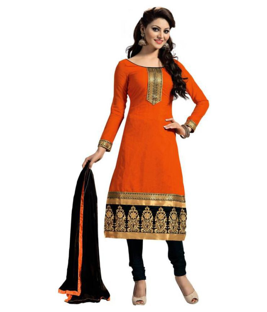 JENIL FASHAION Orange Cotton Dress Material