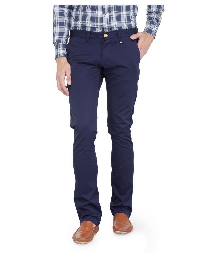 JUMPUSA Navy Blue Regular -Fit Flat Trousers