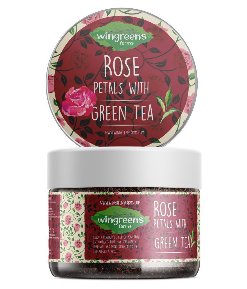 Wingreens Farms Rose Petals with Green Tea Green Tea Loose Leaf 120 gm Pack of 2