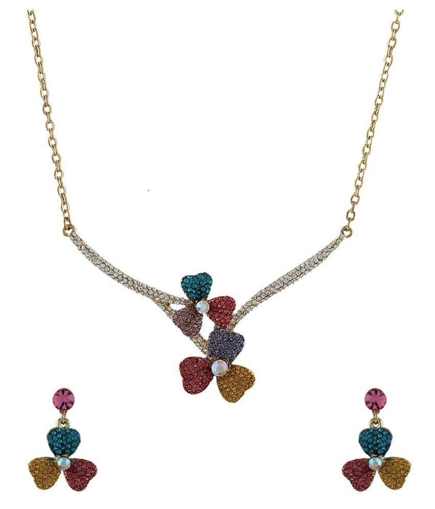 Anuradha Art Golden Finish Studded Multi Colour Shimmering Stone Wonderful Necklace Set For Women/Girls