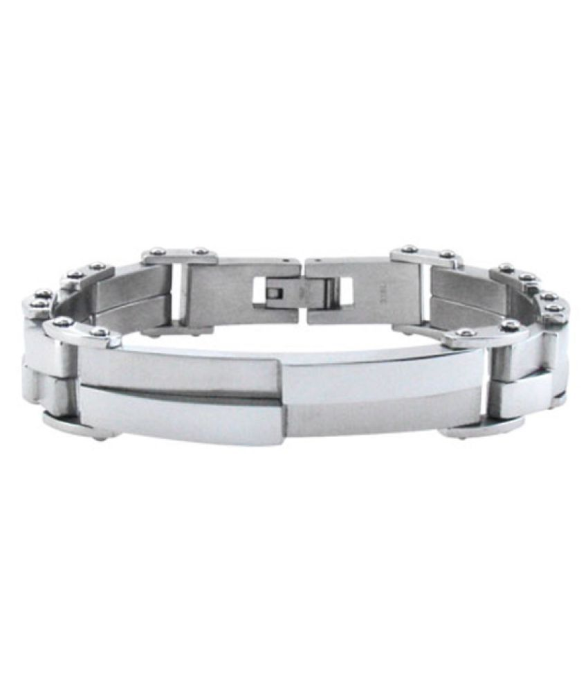 Inox Jewelry Modern Silver Steel with Asymmetrical Design Bracelet