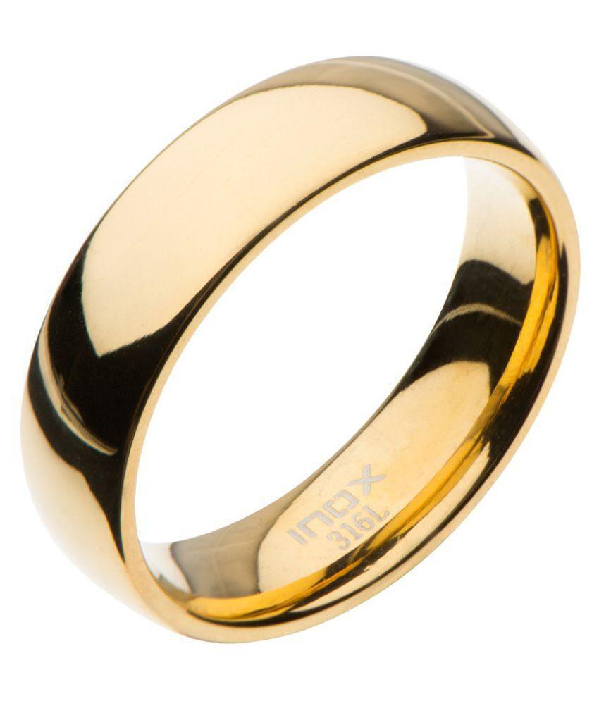 Inox Jewelry 6mm Classic Polished Gold Wedding Ring
