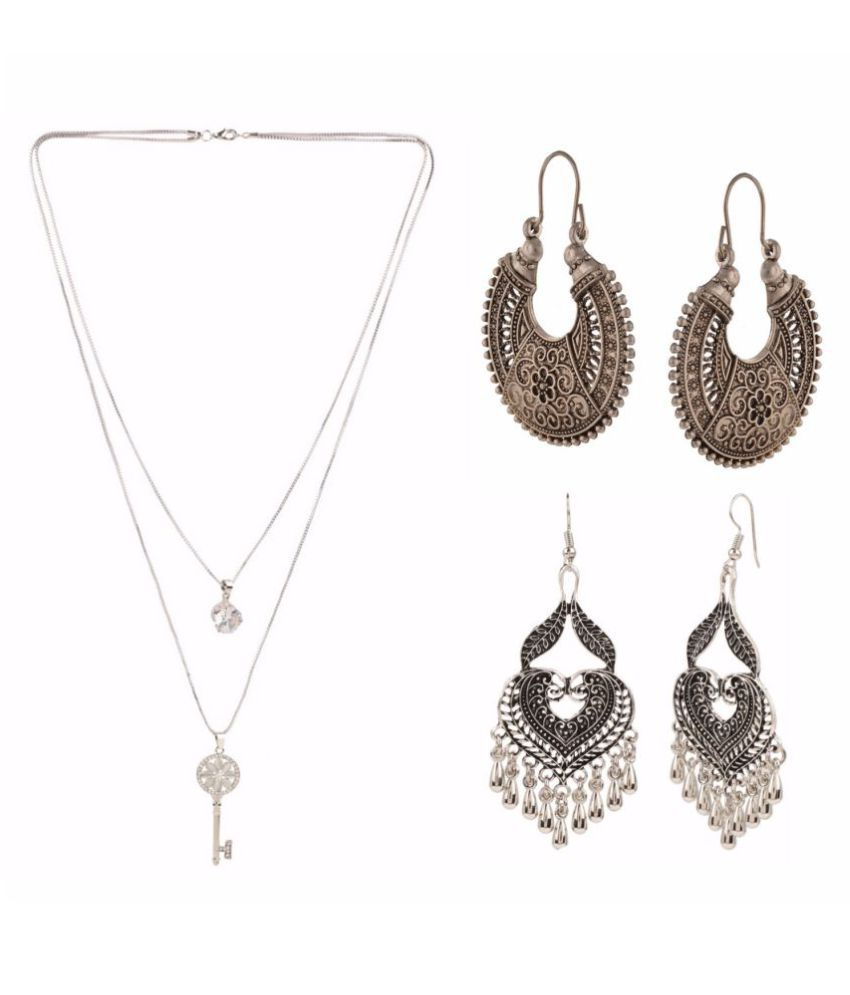 Archi Collection Jewellery Combo of Trendy Stylish Fancy Party Wear Statement Necklace & Dangler Earrings for Girls & Women