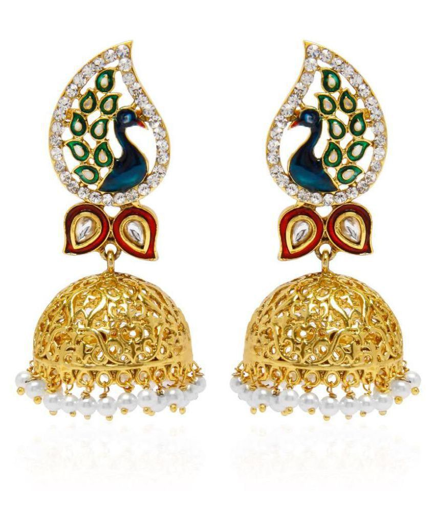 Jewels Gehna Oxidized Pearls Contemporary Latest Gold Plated Latest Jhumki Earrings For Women