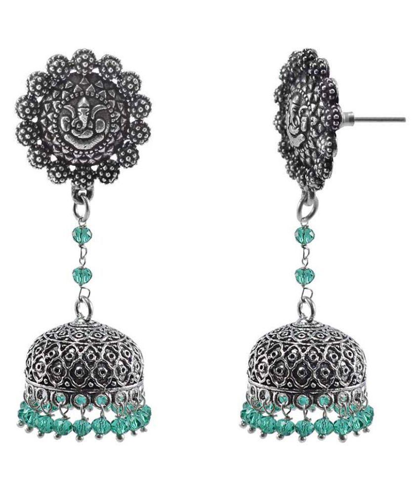 Silvesto India Antique Silver Overlay Green Aqua Crystal Round Drop Beads And Ganesha Jhumki Jewellery PG-113073