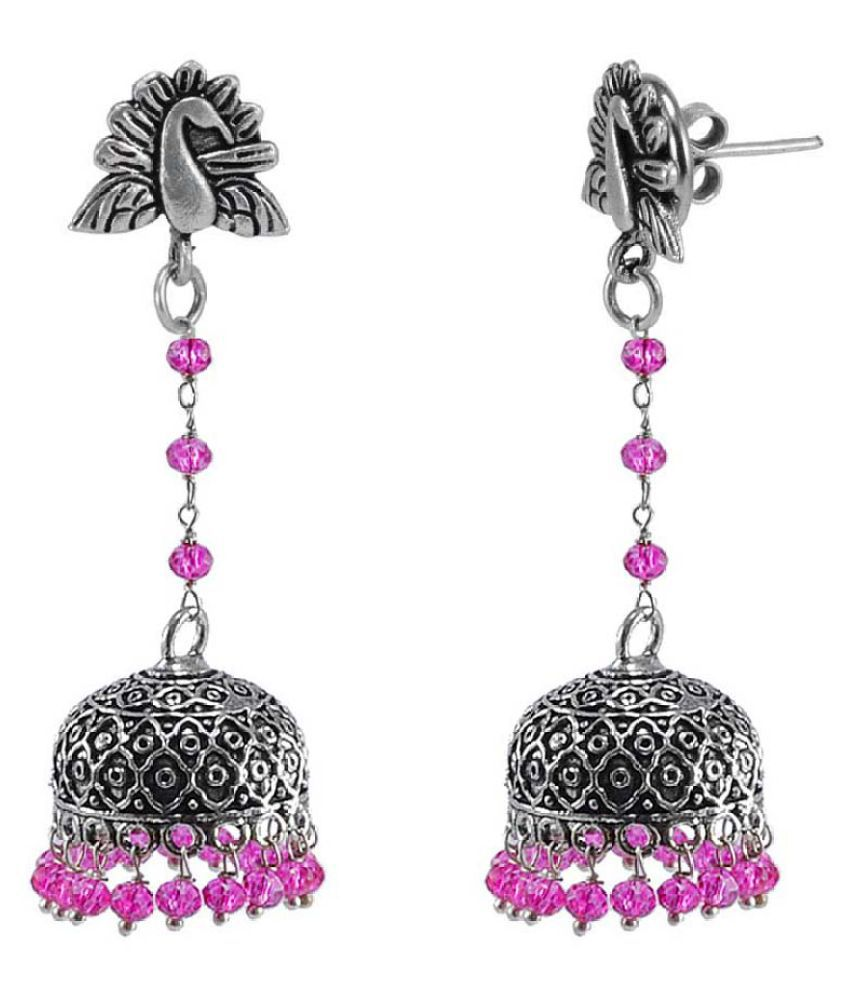 Silvesto India Hand Crafted Ganesh Studs Jhumki Dome Earrings WithPink Crystals Indian Jewellery PG-113287