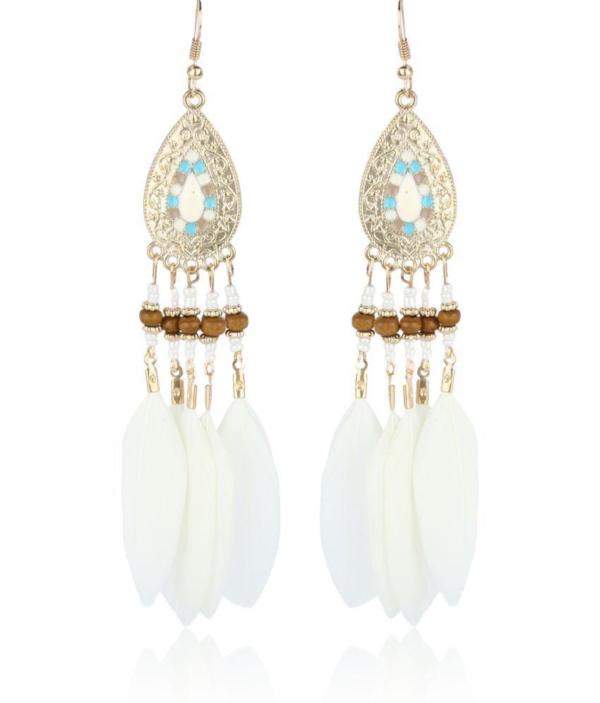 Fasherati Antique Gold Bohemia  Colorful Beads Tassel  Drop Earrings For Women