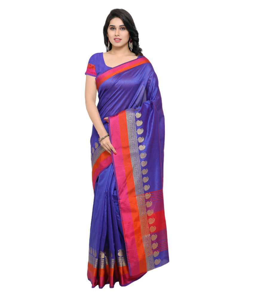Varkala Silk Sarees Blue and Purple Cotton Blend Saree