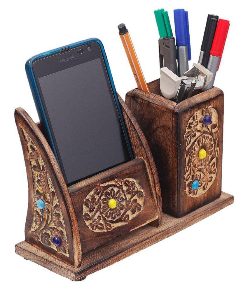 Desi Karigar Wooden Pen Mobile Stationery Stand For Home