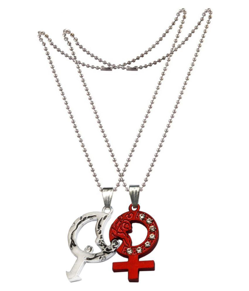 Men Style 2Pcs Rhinestone Male And Female Symbol Love Couple Vintage Men for Lovers Jewelry Red and Silver Zinc Alloy  Pendant