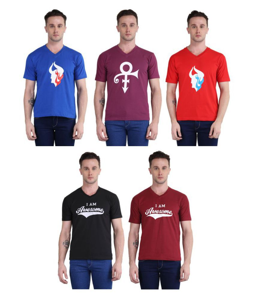 British Terminal Multi V-Neck T-Shirt Pack of 5