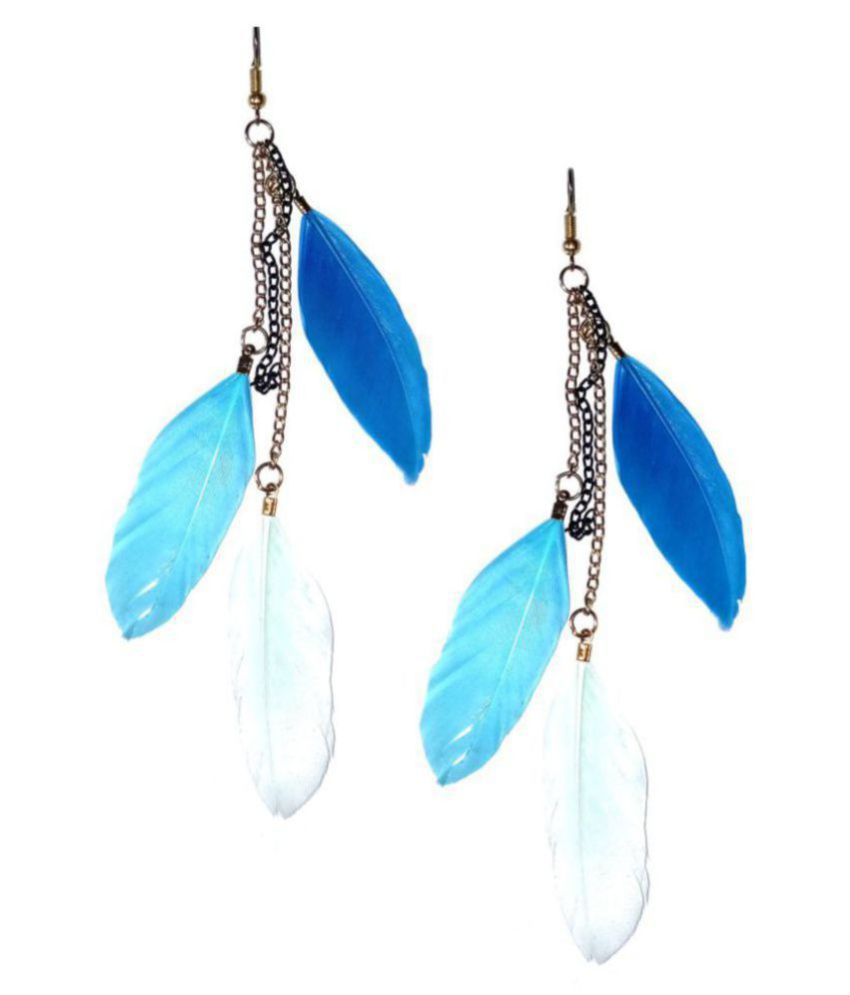 Fashionable Blue  Feather  Earrings  by shrungarika