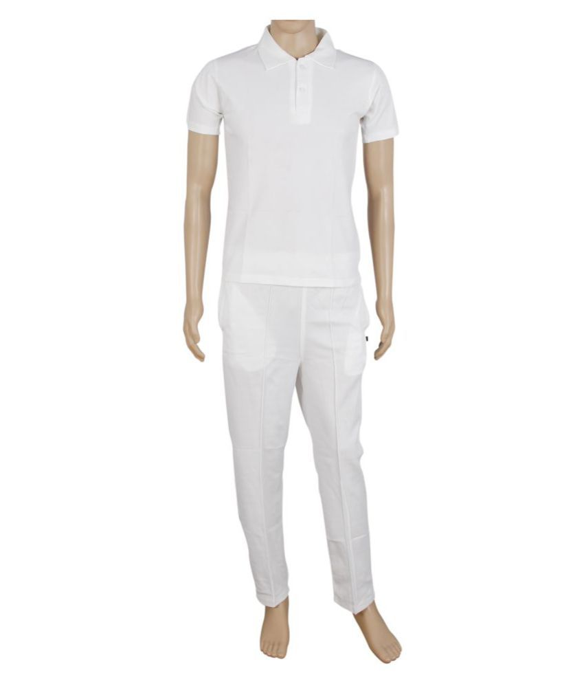 RW White Polyester Cricket Uniform / Dress with Half Sleeve Jersey + Trackpant Combo