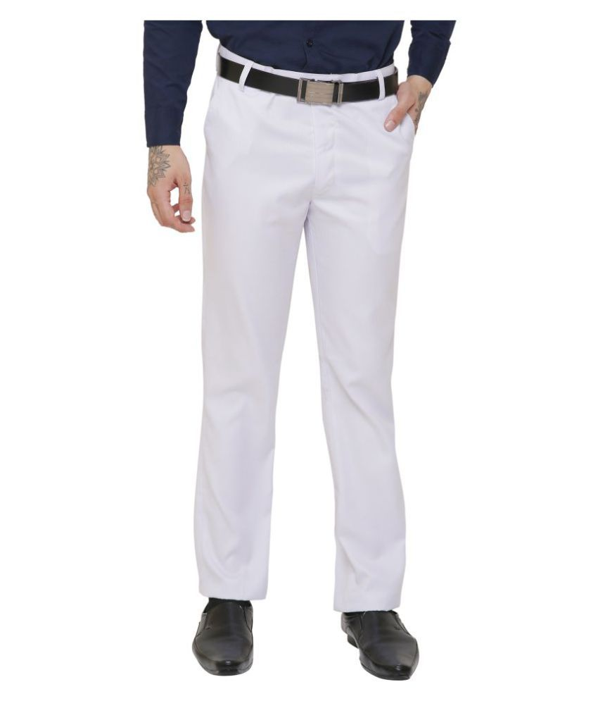 4a5d107ff3ee34 AD & AV White Regular -Fit Flat Trousers - Buy AD & AV White Regular -Fit  Flat Trousers Online at Low Price in India - Snapdeal