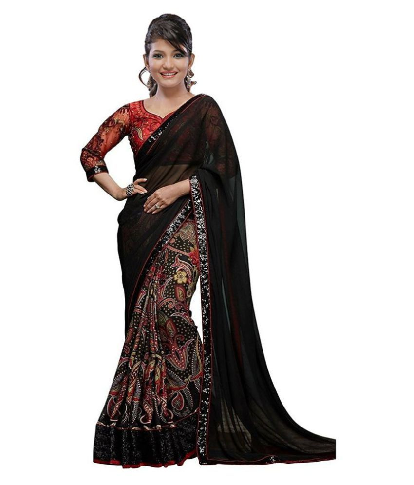 731076d969a Anjali Enterprise Black Georgette Saree - Buy Anjali Enterprise Black  Georgette Saree Online at Low Price - Snapdeal.com