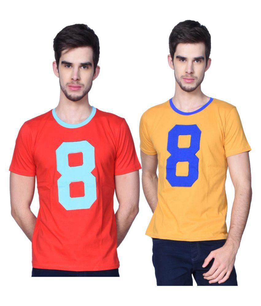 GliZt Red Round T-Shirt Pack of 2