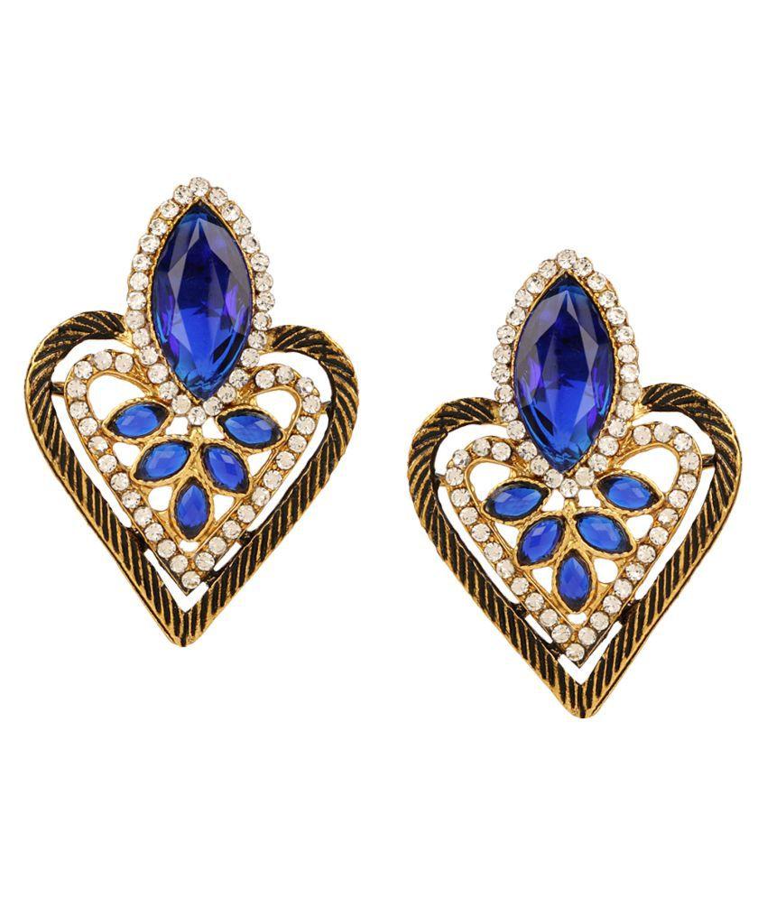 Lalso Beautiful Blue Bollywood Style Meenakari Top Earrings - LAE75_BL