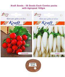 Radish Long White Veg And Radish Red Round Veg Combo Seeds With Agropeat 100gm By Kraft Seeds