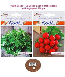 Radish Red Round Veg And Parsley Veg Combo Seeds With Trowel And Agro Peat 100gm By Kraft Seeds