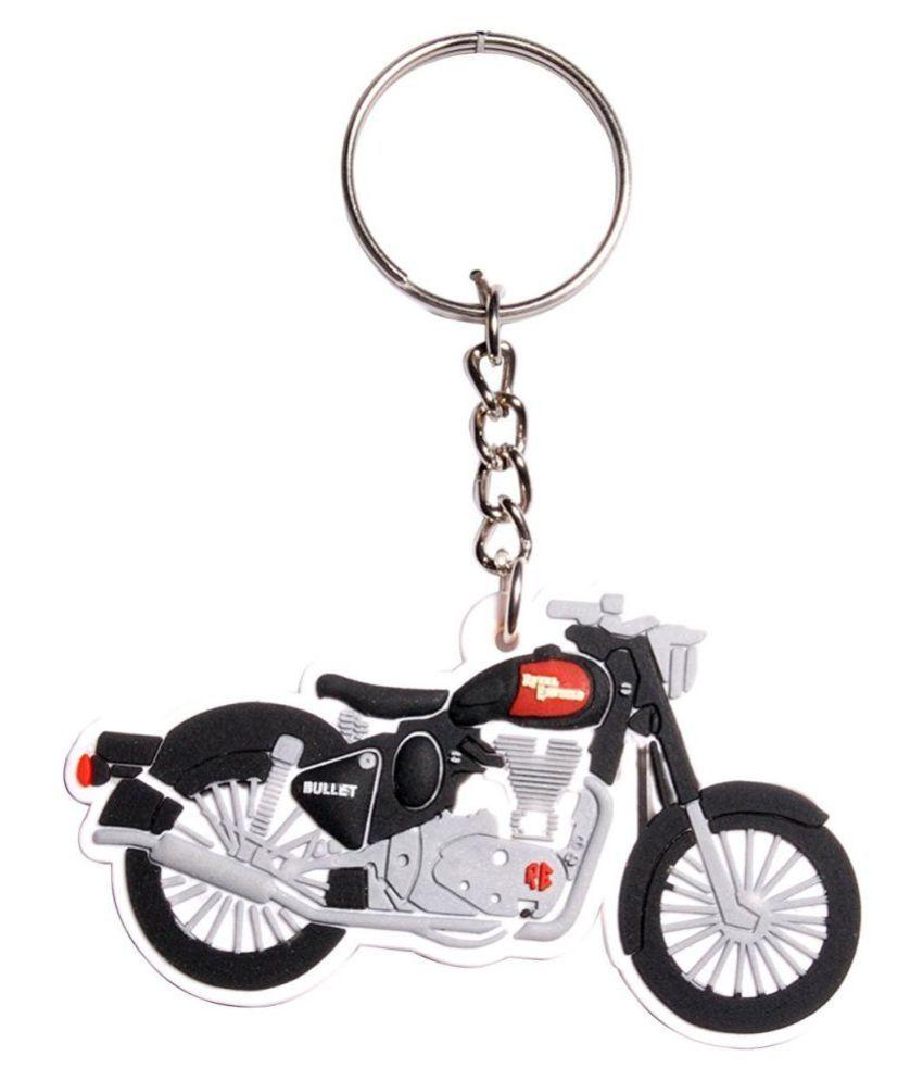 Moto Biker Royal Enfield Bike Shape 3D Rubber Key Chain