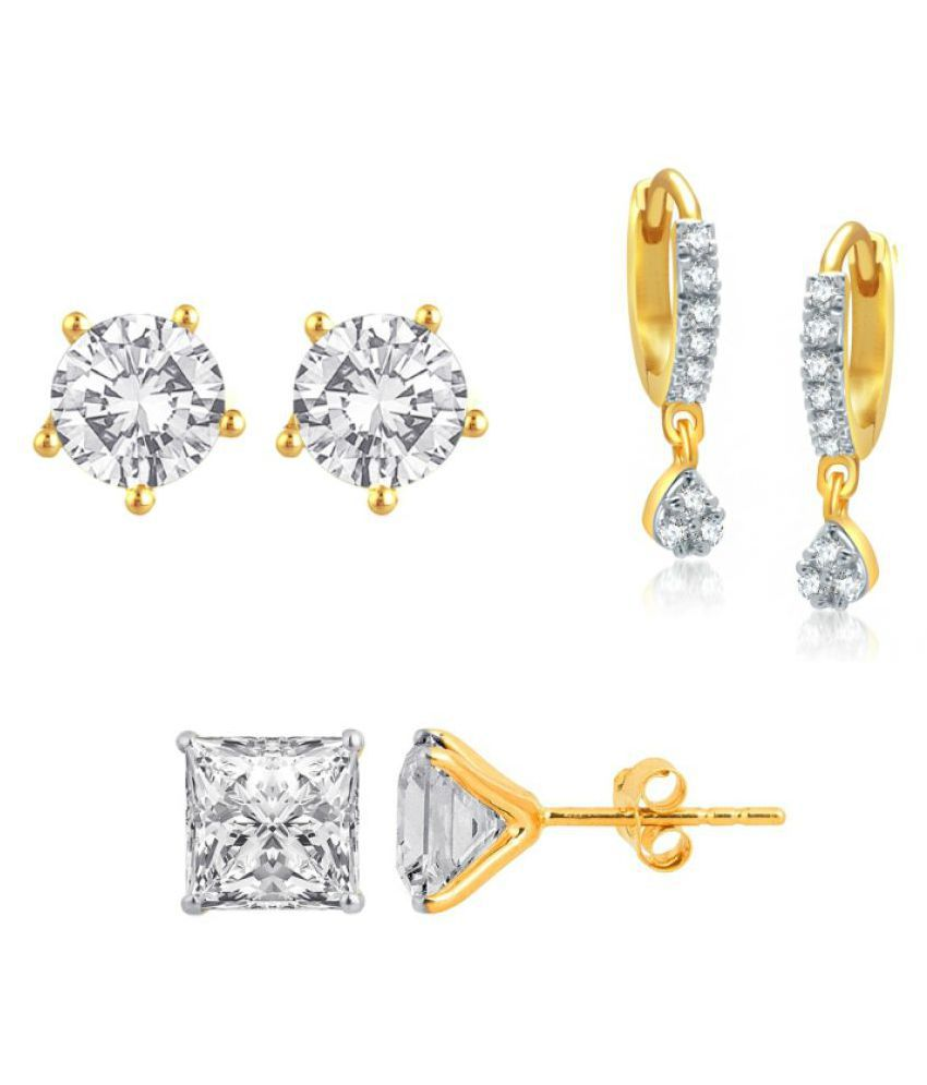 Penny Jewels Alloy Traditional Antique Latest (Combo of 3) Small Earrings Set For Women & Girls