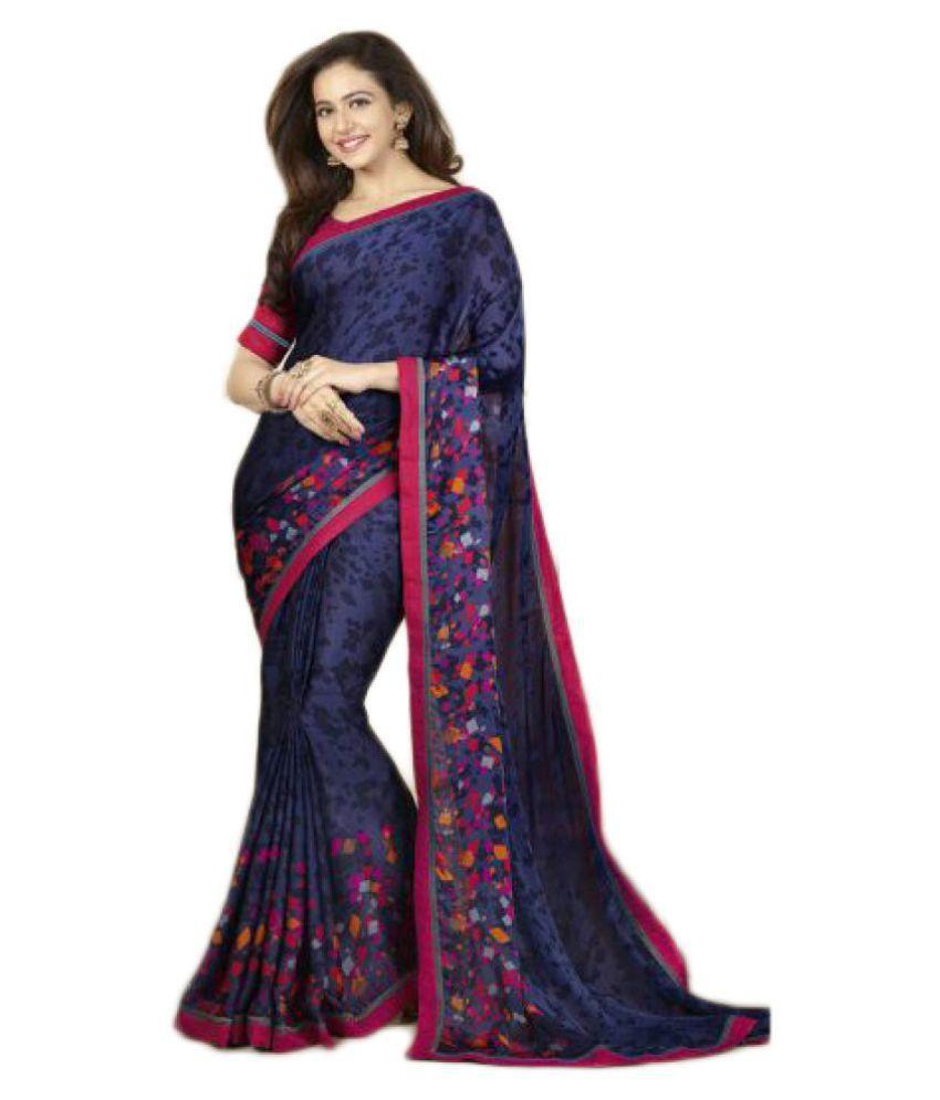 Fashion and Hub Blue Bangalore Silk Saree