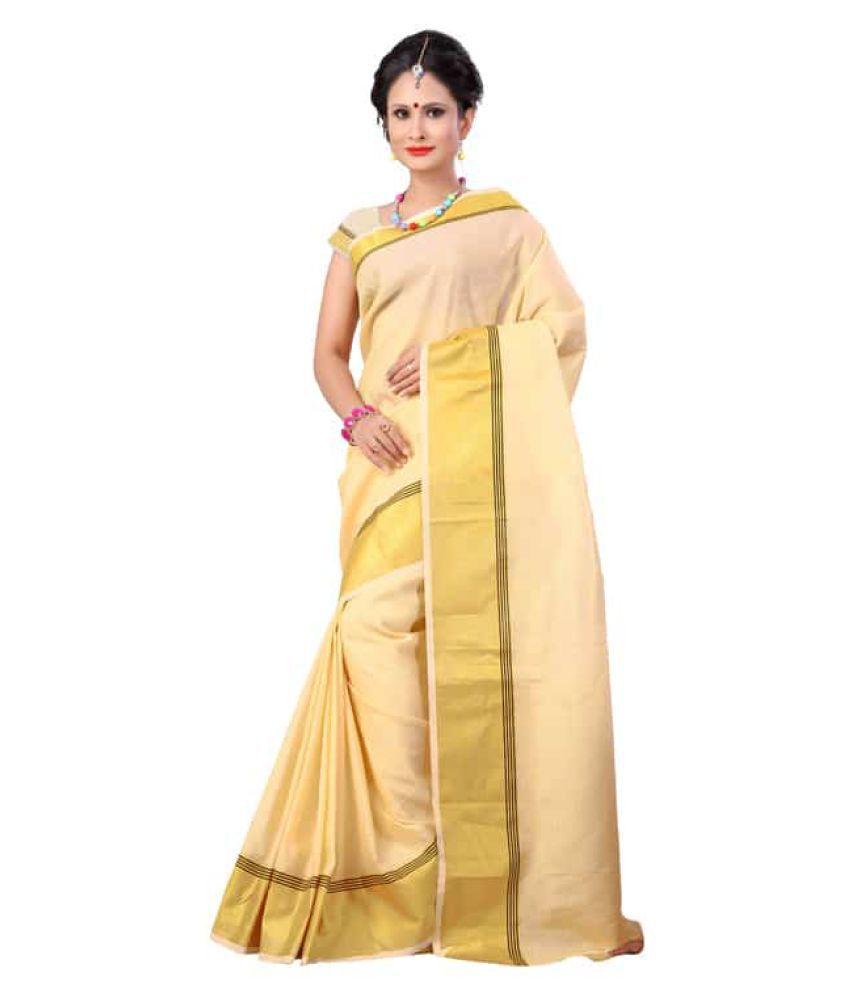 R K SAREE Beige Cotton Blend Saree