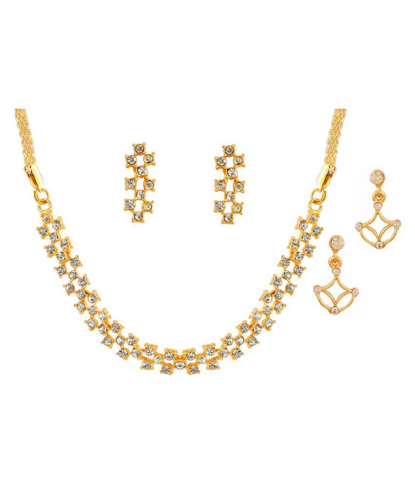 Touchstone Golden Necklace Set with Earrings