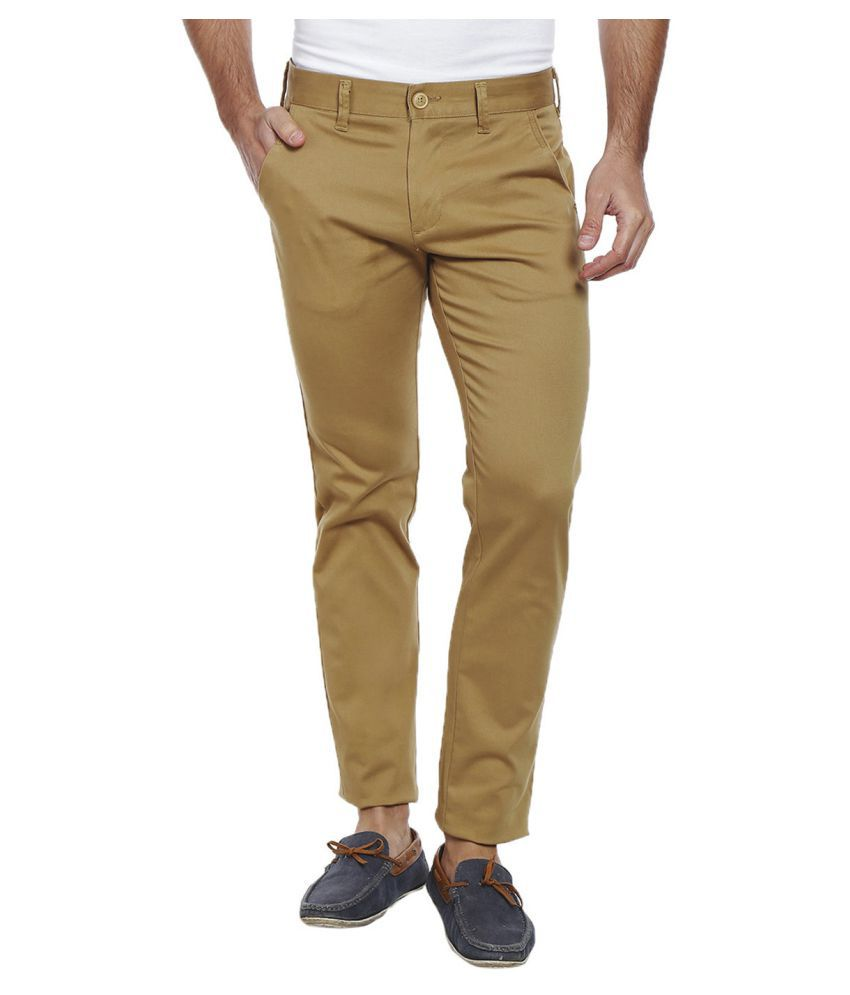Integriti Beige Slim -Fit Flat Trousers