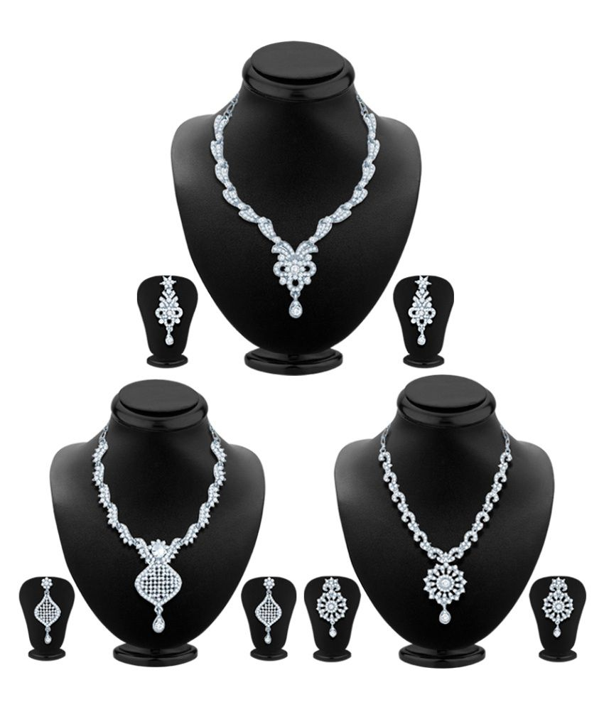Sukkhi Pack of 3 Rhodium Plated AD Necklace Sets with Maang Tikas