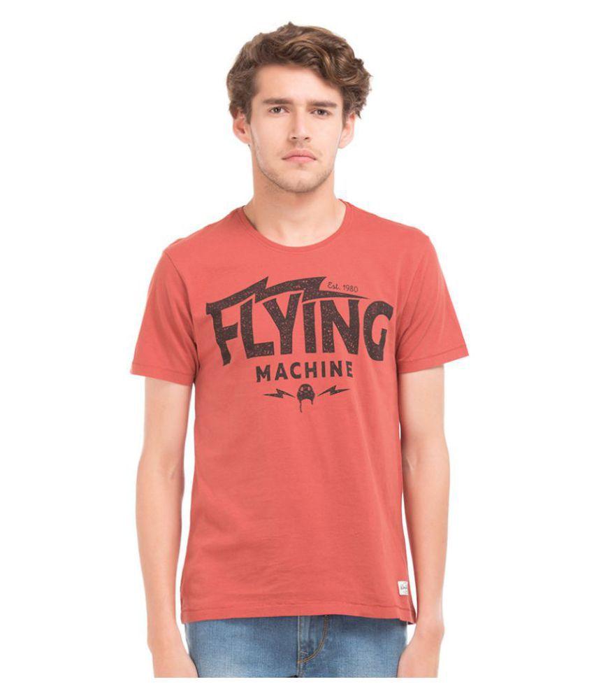 Flying Machine Red Round T-Shirt