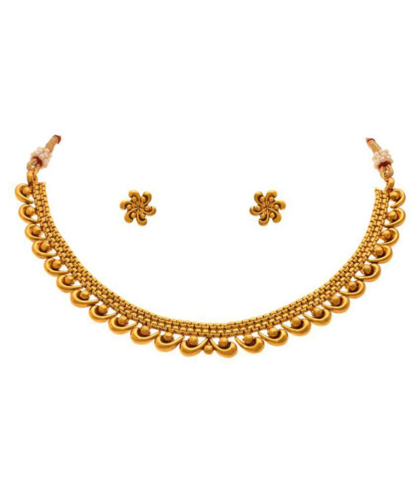 Jfl Jewellery For Less 22k Yellow Gold Necklace Set