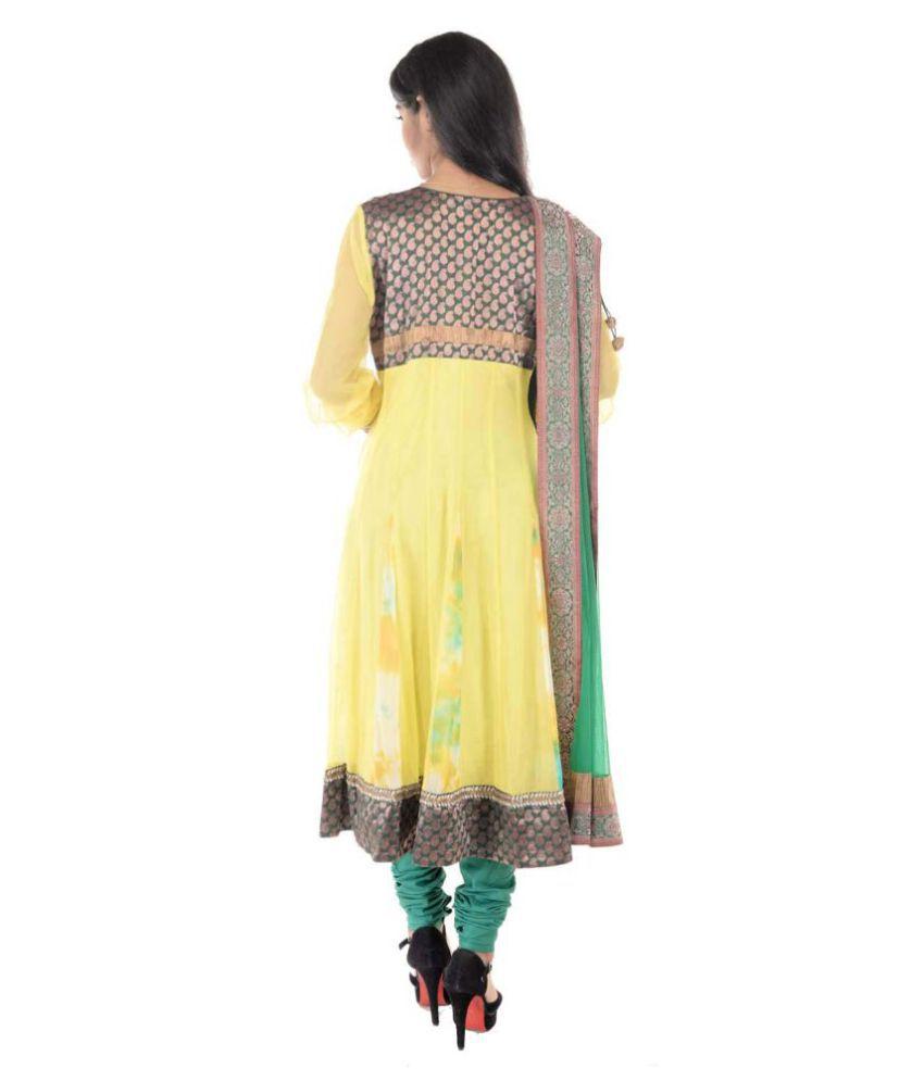Six Degrees Yellow Net Anarkali Stitched Suit