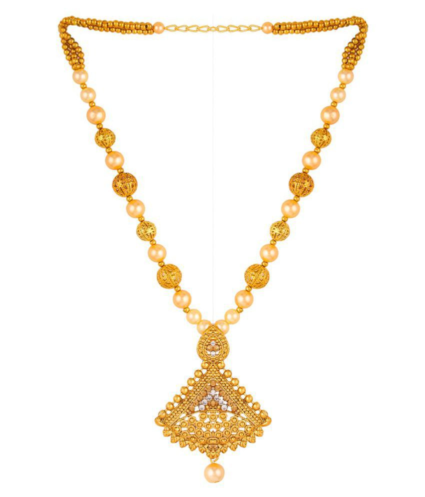 eklavya 22k Gold Plated Moti Design Necklace With Drop Earring For ...