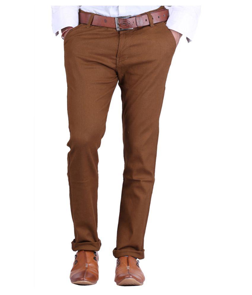 Van Galis Brown Regular -Fit Flat Trousers