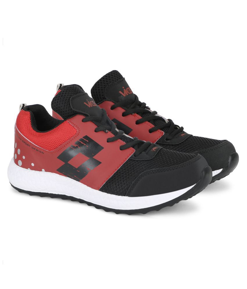 Vios Black and Red Solid EVA Sole Running Shoes